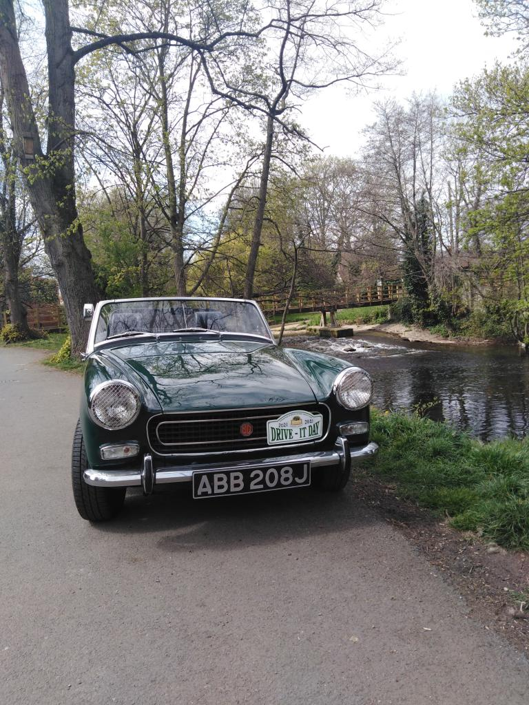 Our 1970 MG Midget taking a rest at Fisher Green in Ripon on the 2021 Drive it day